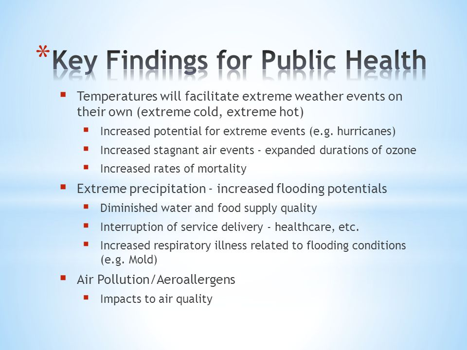 Key Findings for Public Health