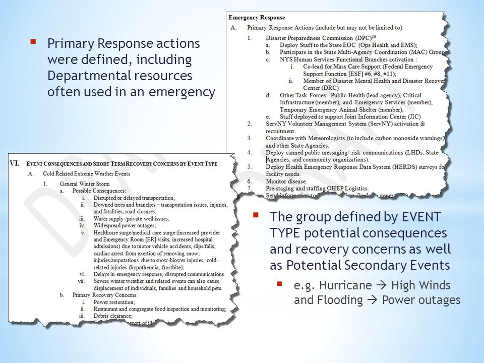 Primary Response actions were defined, including Departmental resources often used in an emergency