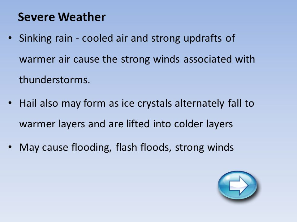 Severe Weather Sinking rain - cooled air and strong updrafts of warmer air cause the strong winds associated with thunderstorms.