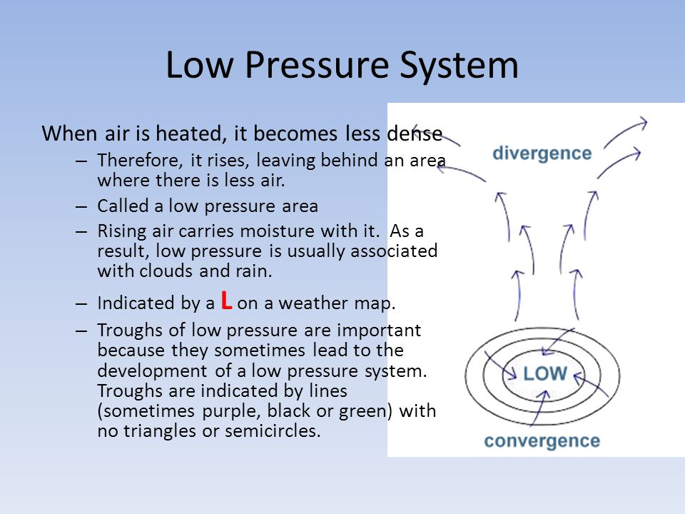 Low Pressure System When air is heated, it becomes less dense