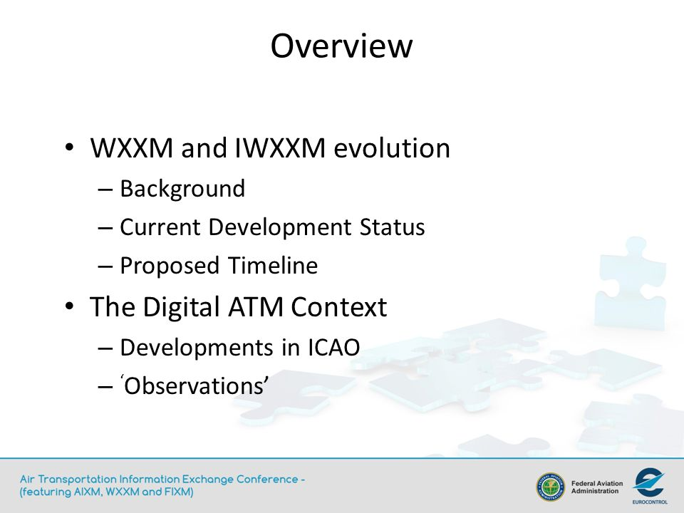 Overview WXXM and IWXXM evolution The Digital ATM Context Background