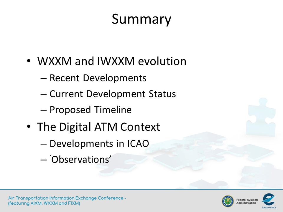 Summary WXXM and IWXXM evolution The Digital ATM Context