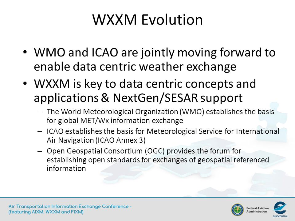 WXXM Evolution WMO and ICAO are jointly moving forward to enable data centric weather exchange.