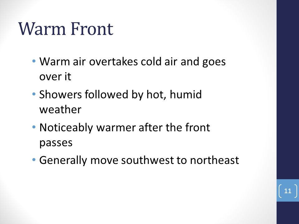Warm Front Warm air overtakes cold air and goes over it