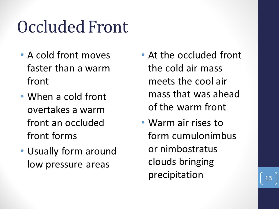Occluded Front A cold front moves faster than a warm front