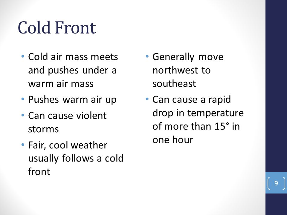 Cold Front Cold air mass meets and pushes under a warm air mass