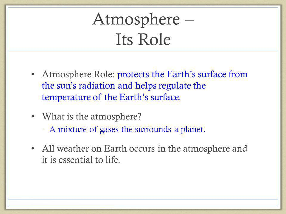 Atmosphere – Its Role
