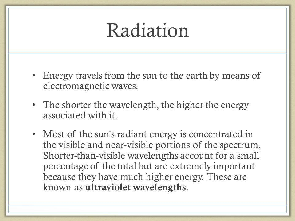 Radiation Energy travels from the sun to the earth by means of electromagnetic waves.