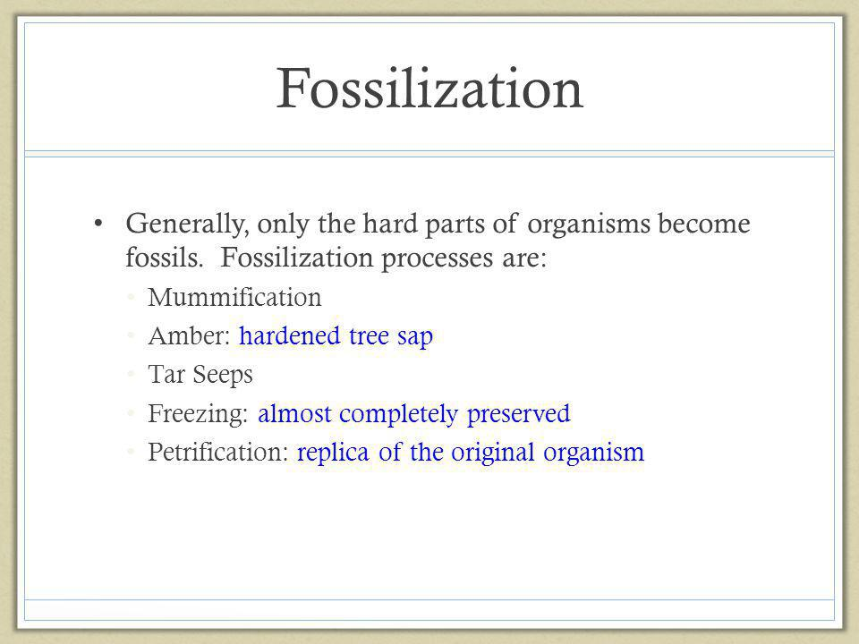 Fossilization Generally, only the hard parts of organisms become fossils. Fossilization processes are: