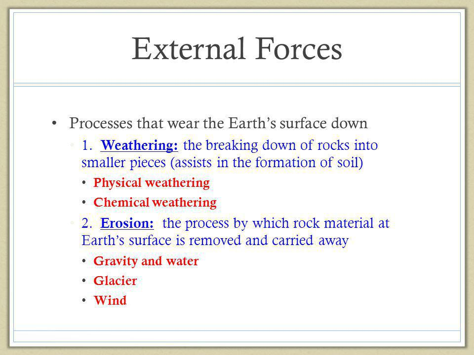 External Forces Processes that wear the Earth's surface down