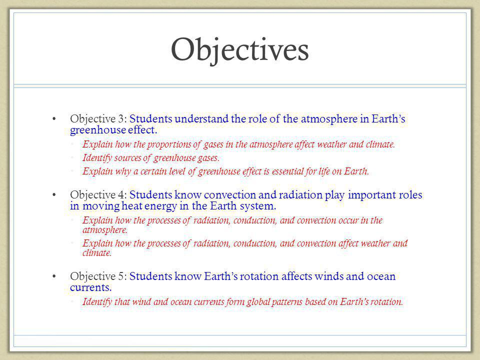 Objectives Objective 3: Students understand the role of the atmosphere in Earth's greenhouse effect.
