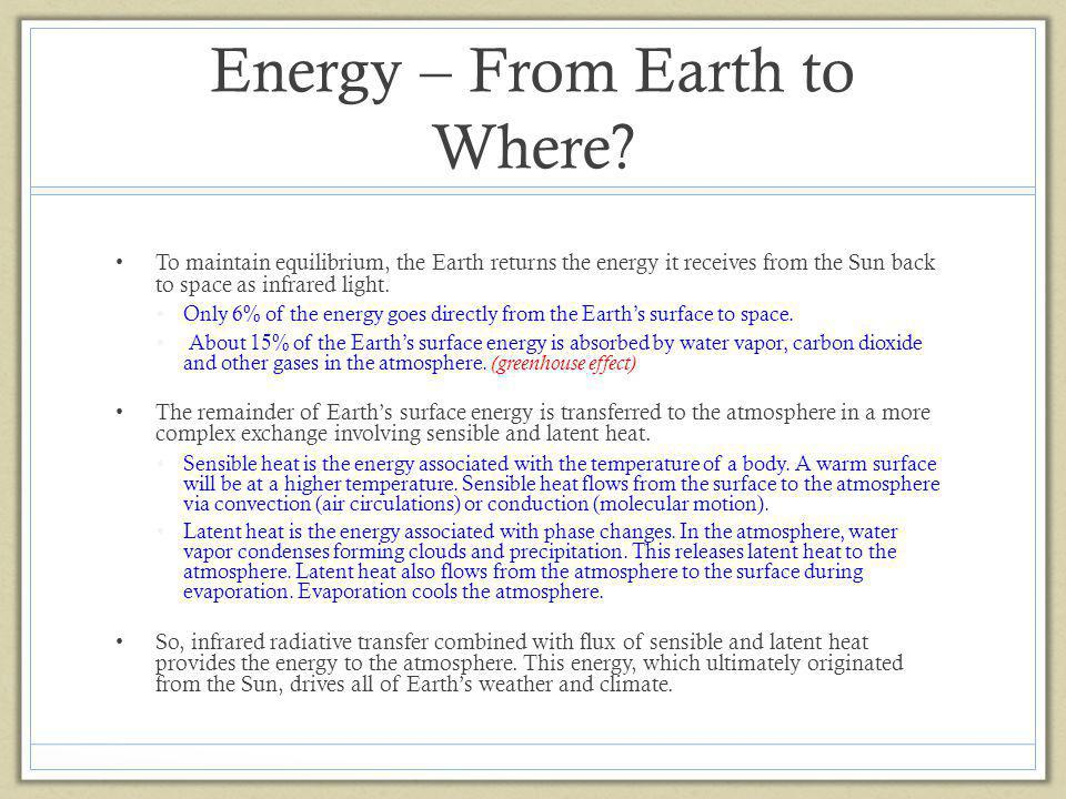 Energy – From Earth to Where