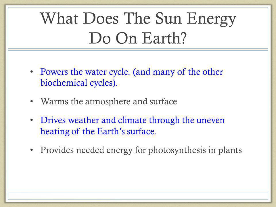 What Does The Sun Energy Do On Earth