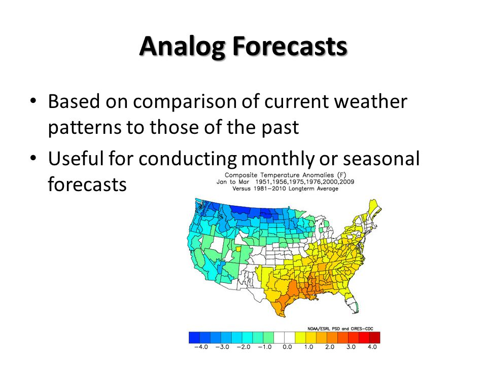 Analog Forecasts Based on comparison of current weather patterns to those of the past.