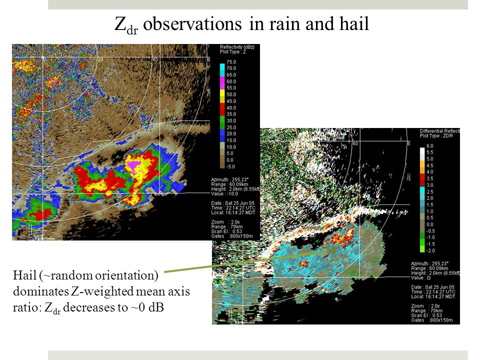 Zdr observations in rain and hail