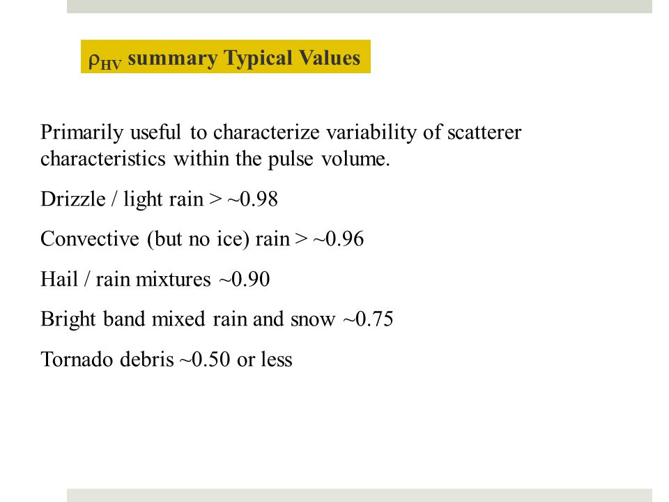 rHV summary Typical Values