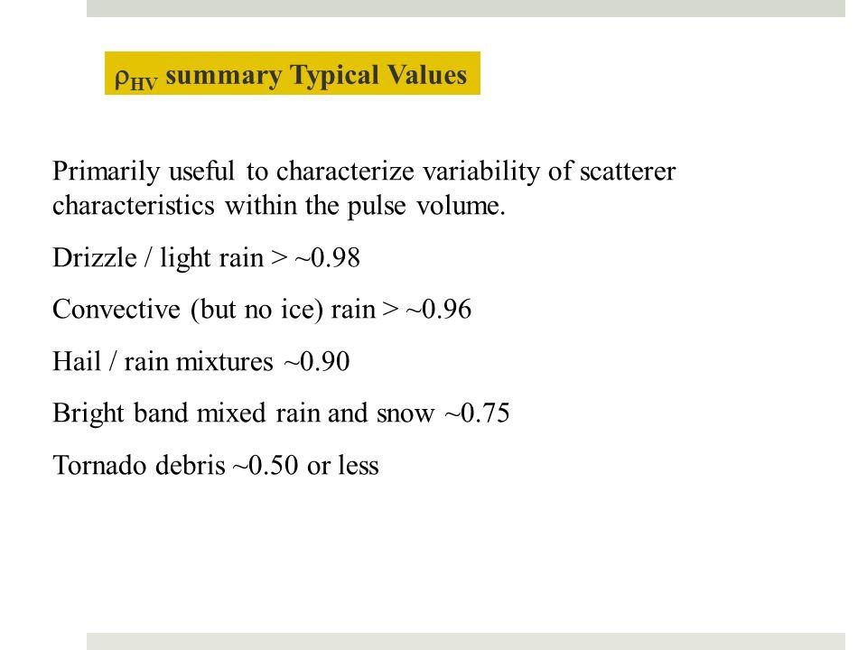 rHV summary Typical Values