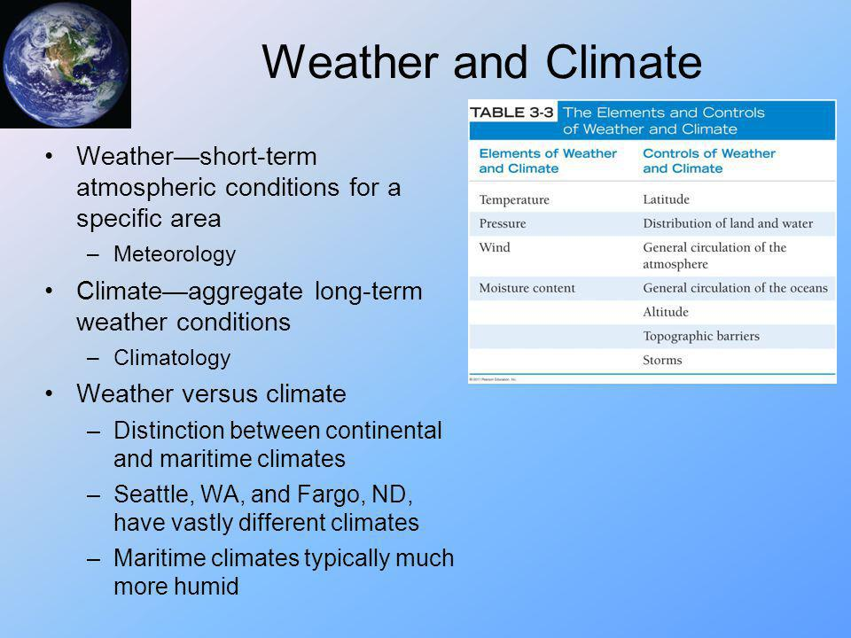 Weather and Climate Weather—short-term atmospheric conditions for a specific area. Meteorology. Climate—aggregate long-term weather conditions.