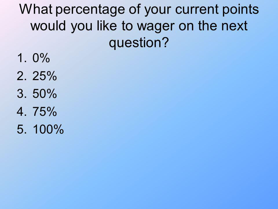 What percentage of your current points would you like to wager on the next question