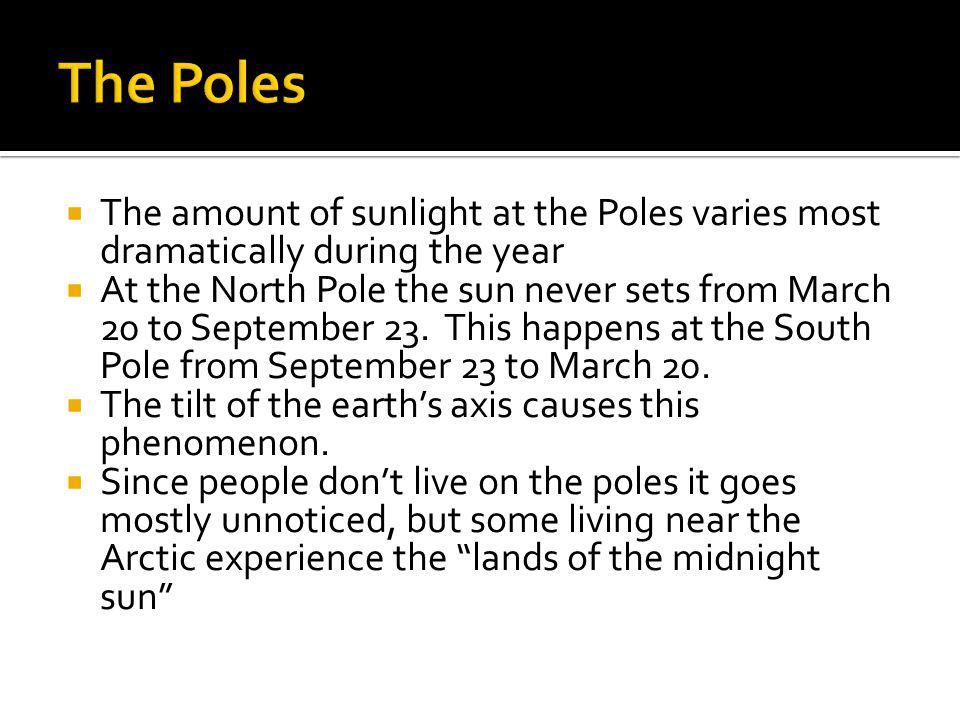The Poles The amount of sunlight at the Poles varies most dramatically during the year.