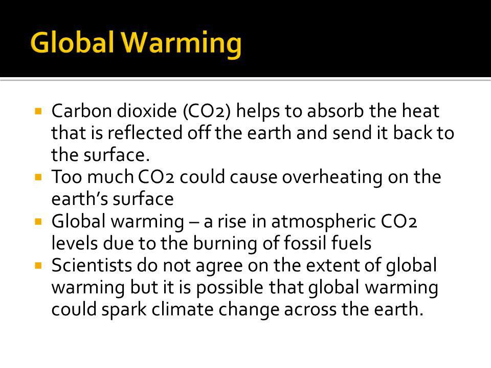 Global Warming Carbon dioxide (CO2) helps to absorb the heat that is reflected off the earth and send it back to the surface.