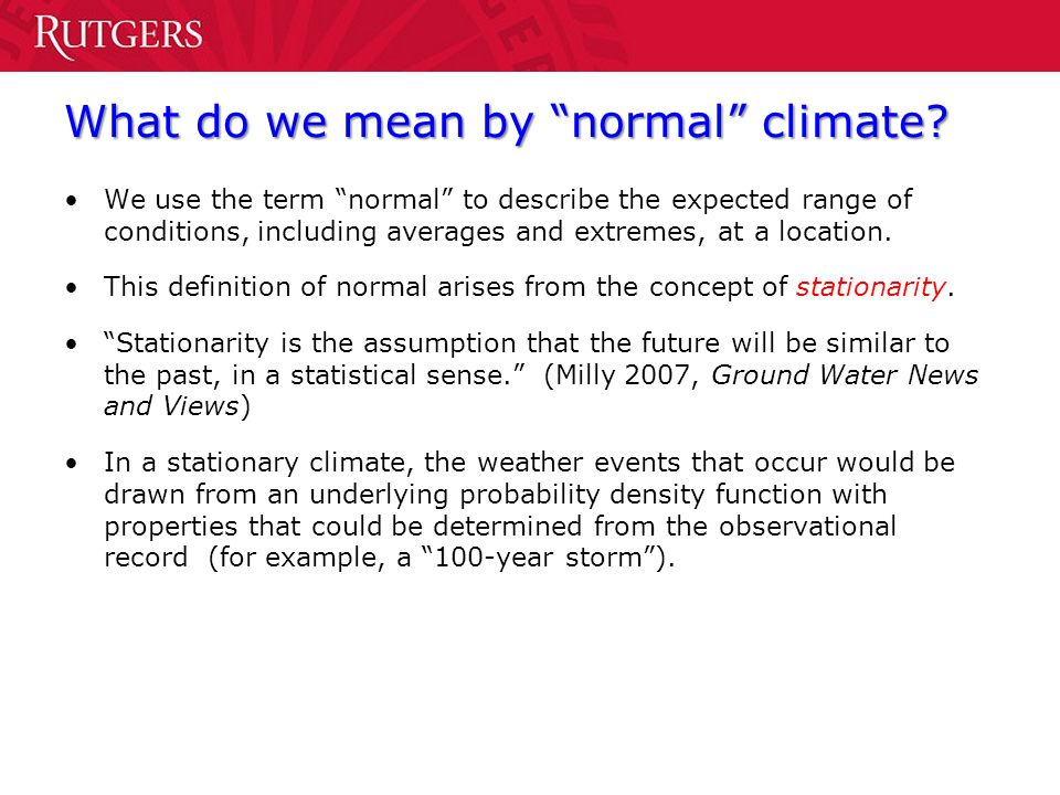What do we mean by normal climate
