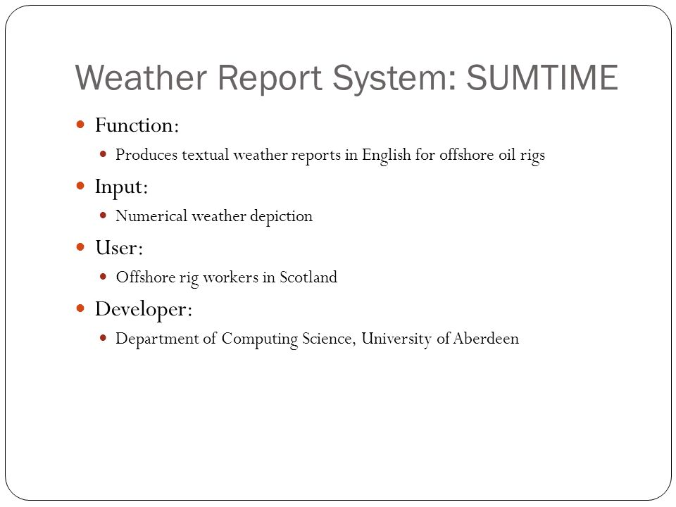 Weather Report System: SUMTIME