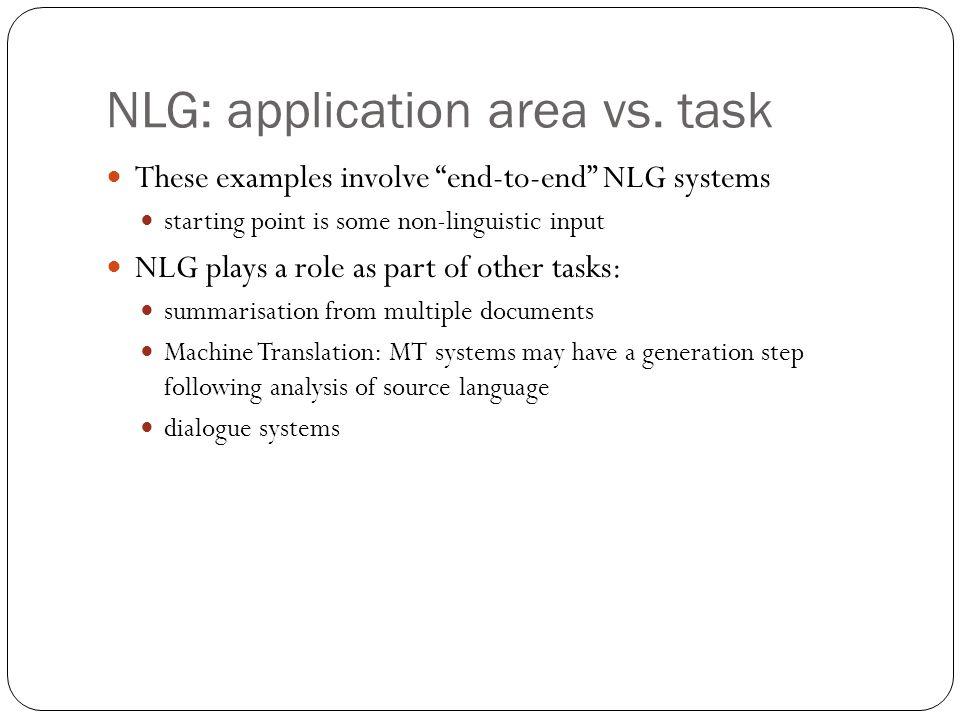 NLG: application area vs. task
