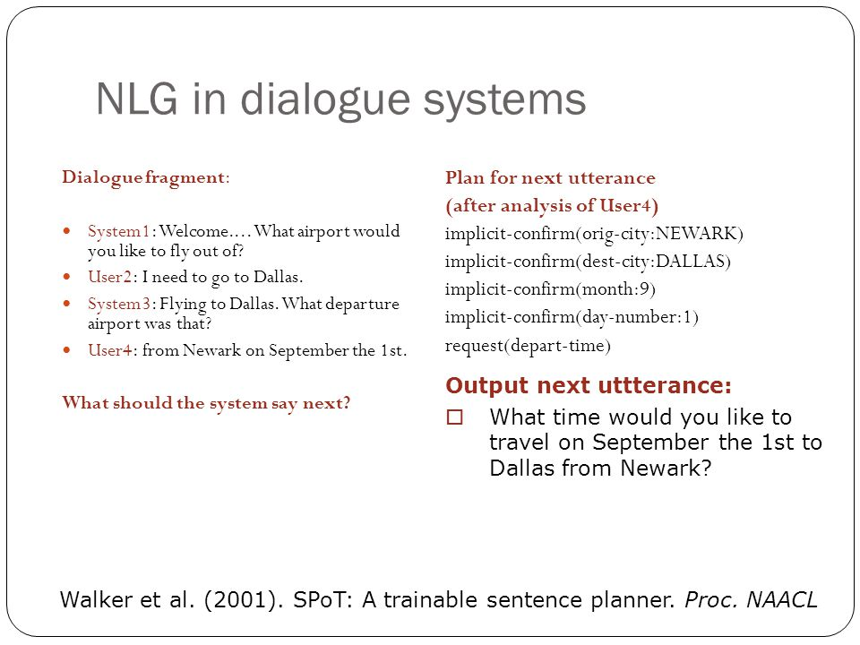 NLG in dialogue systems