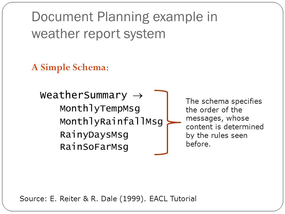 Document Planning example in weather report system