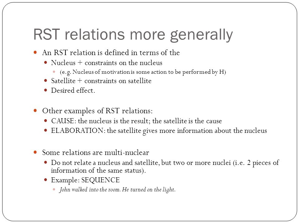 RST relations more generally