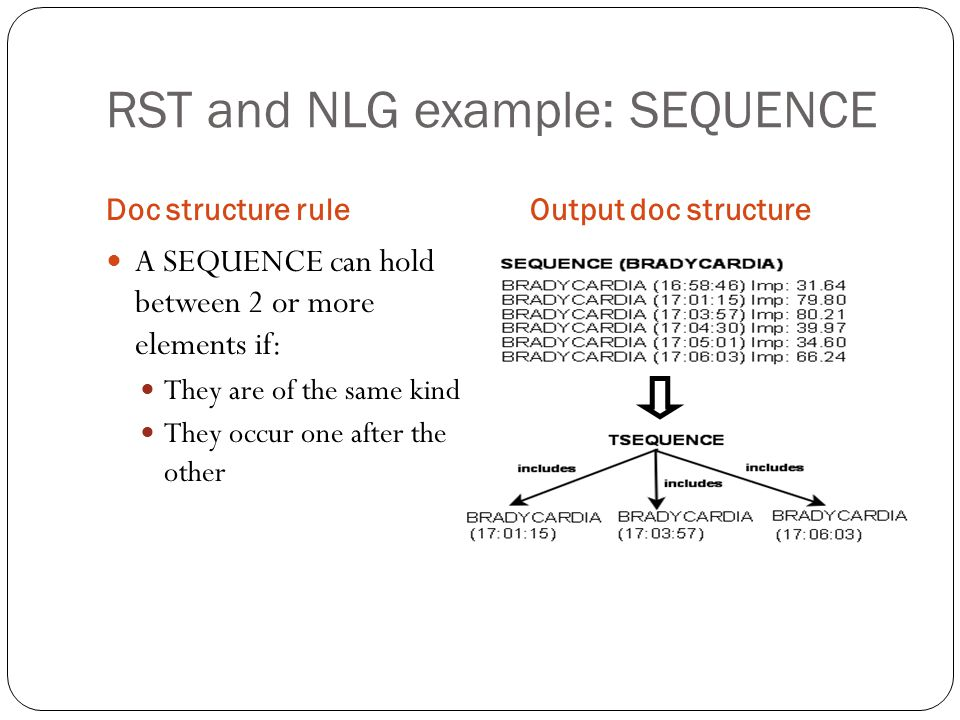 RST and NLG example: SEQUENCE