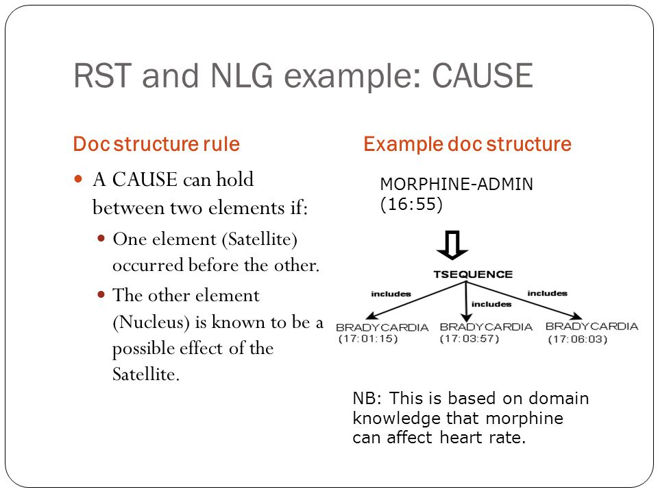 RST and NLG example: CAUSE
