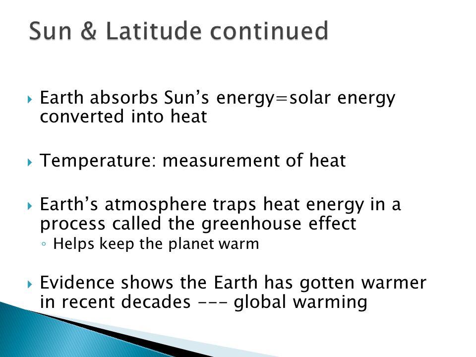 Sun & Latitude continued