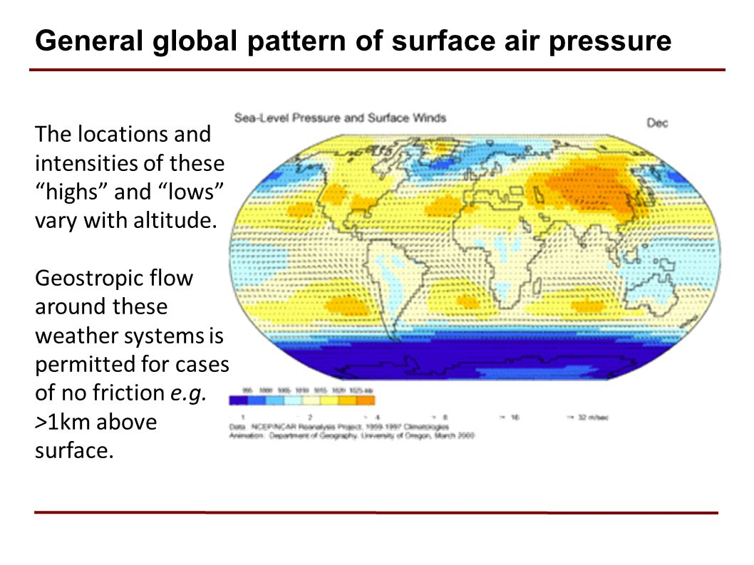 General global pattern of surface air pressure