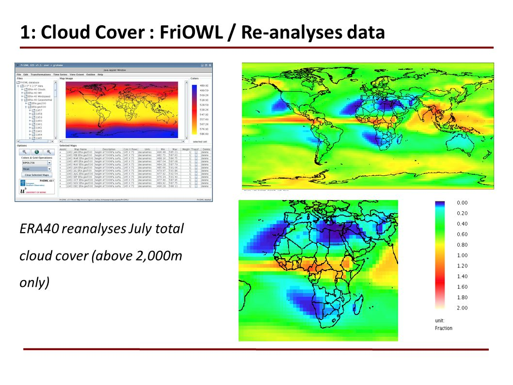 1: Cloud Cover : FriOWL / Re-analyses data