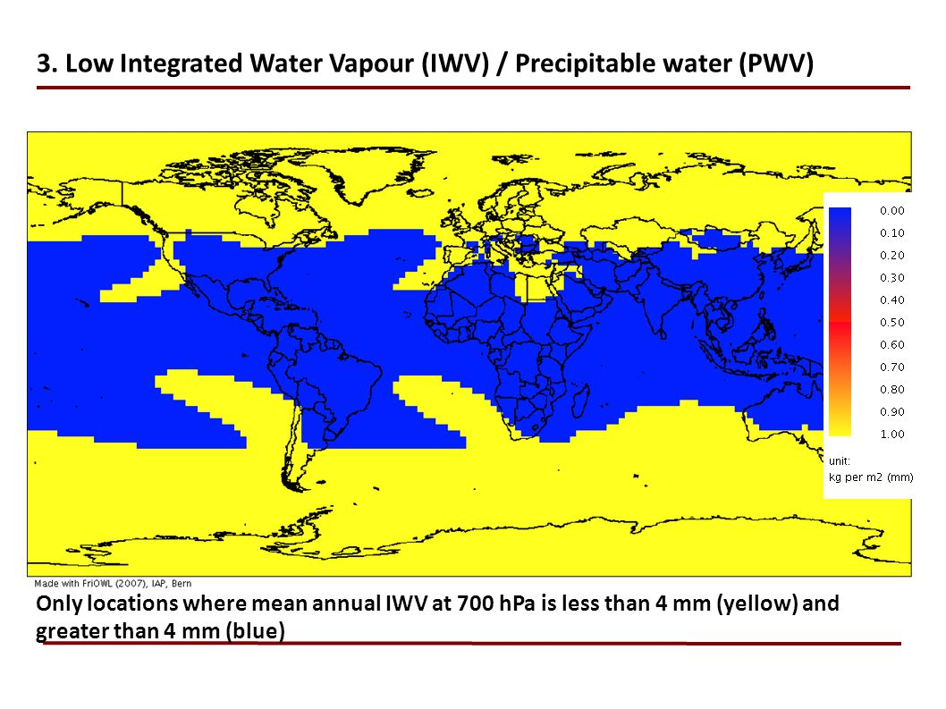 3. Low Integrated Water Vapour (IWV) / Precipitable water (PWV)