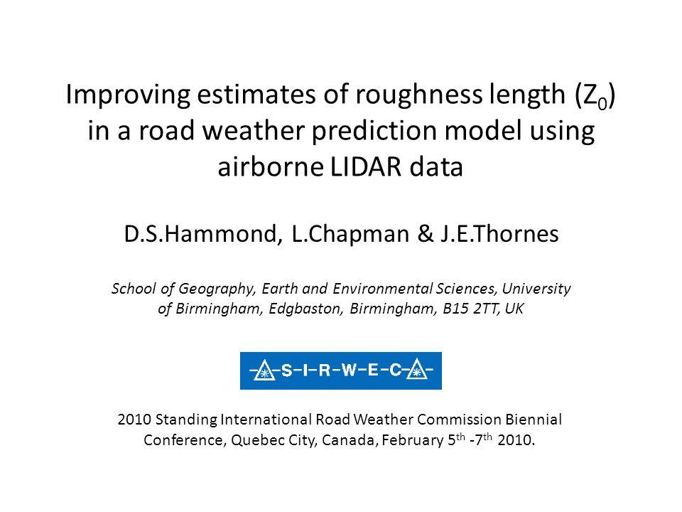 D.S.Hammond, L.Chapman & J.E.Thornes
