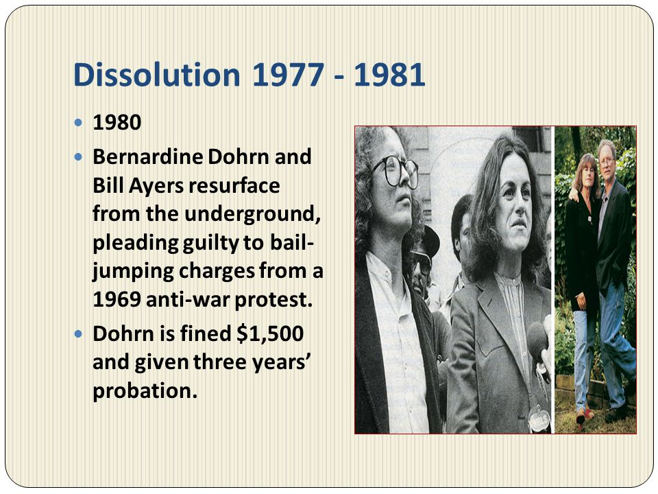 Dissolution 1977 - 1981 1980.