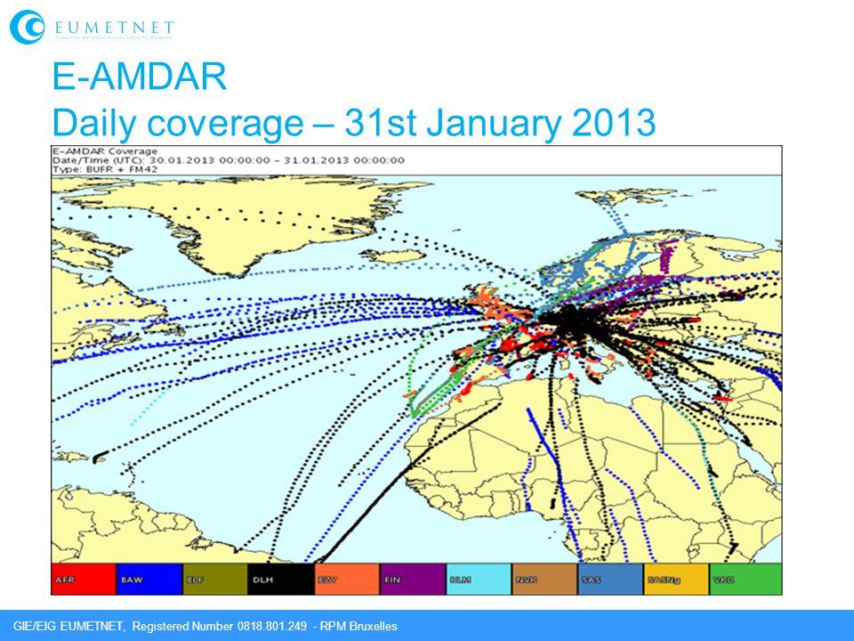 E-AMDAR Daily coverage – 31st January 2013