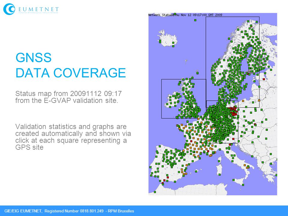 GNSS DATA COVERAGE. Status map from 20091112 09:17 from the E-GVAP validation site.