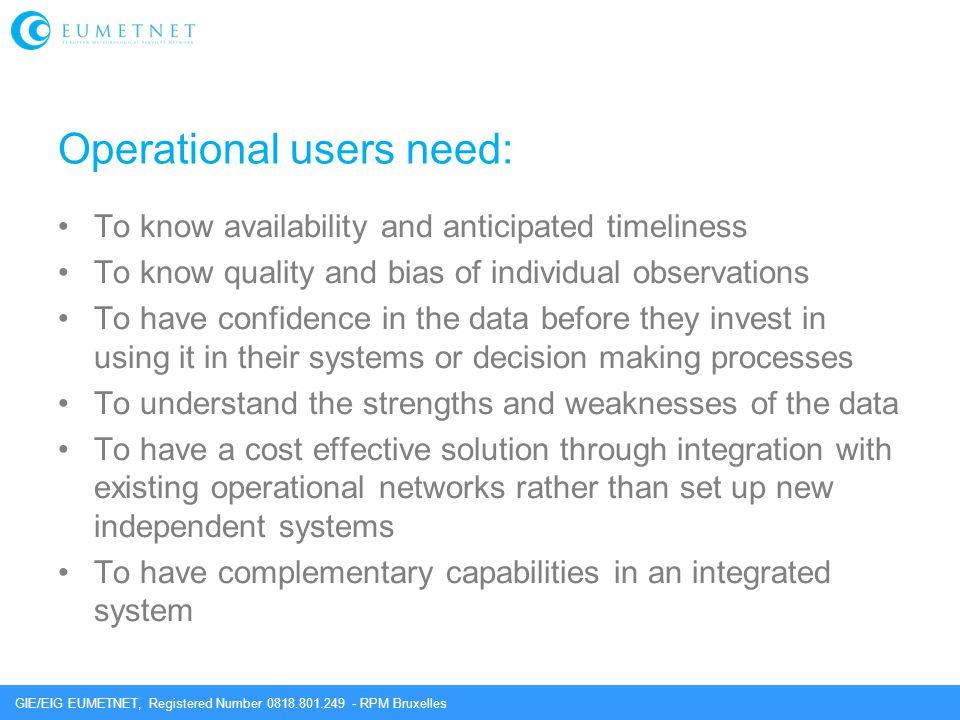 Operational users need: