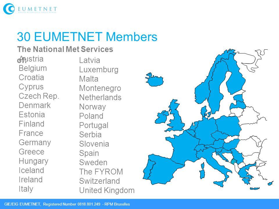 30 EUMETNET Members Austria The National Met Services of: Latvia