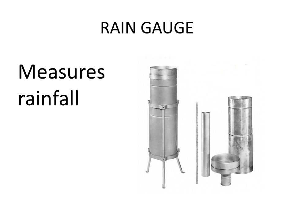 RAIN GAUGE Measures rainfall