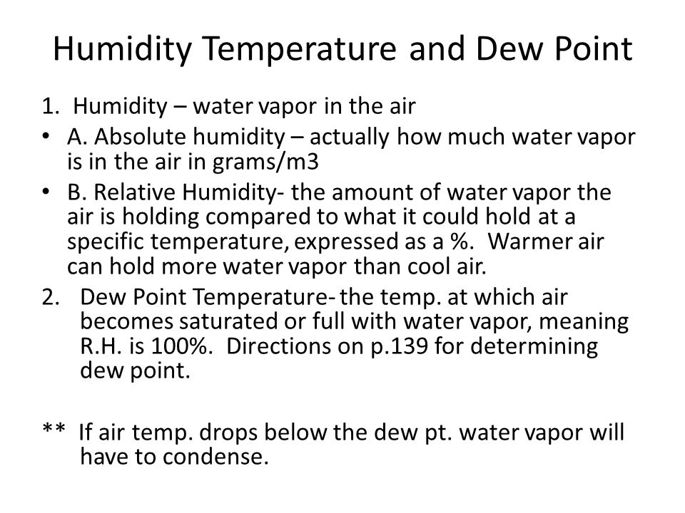 Humidity Temperature and Dew Point