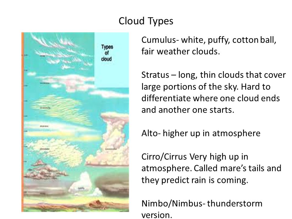 Cloud Types Cumulus- white, puffy, cotton ball, fair weather clouds.