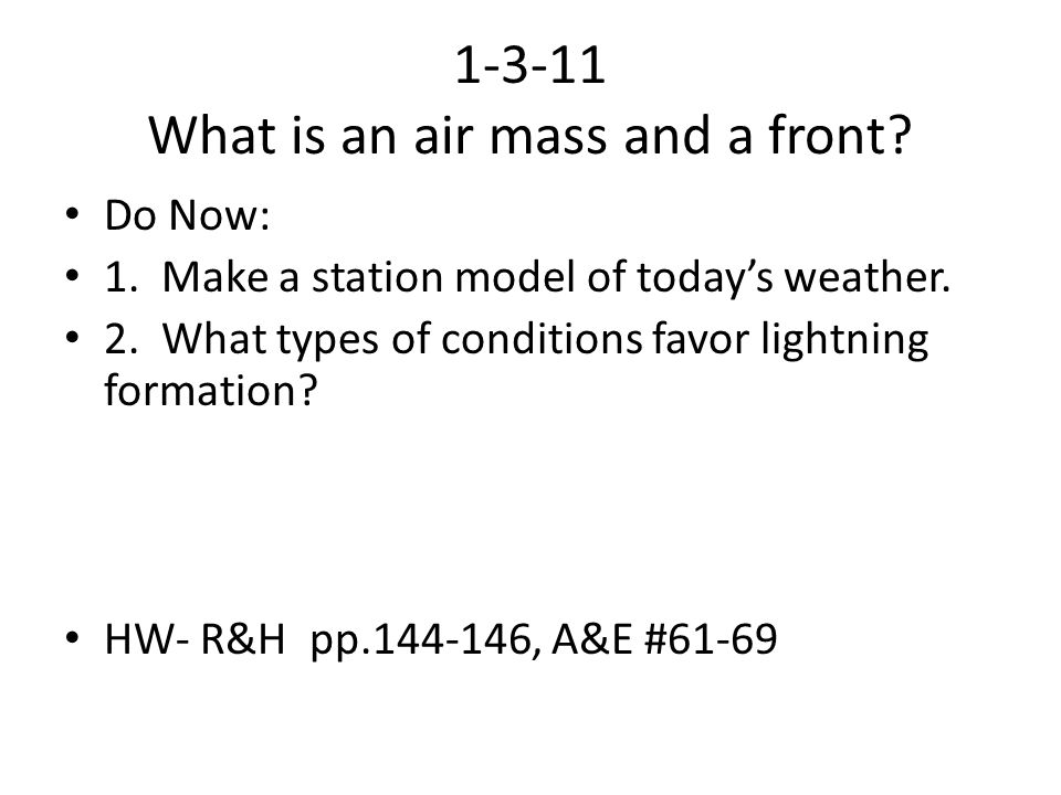 1-3-11 What is an air mass and a front
