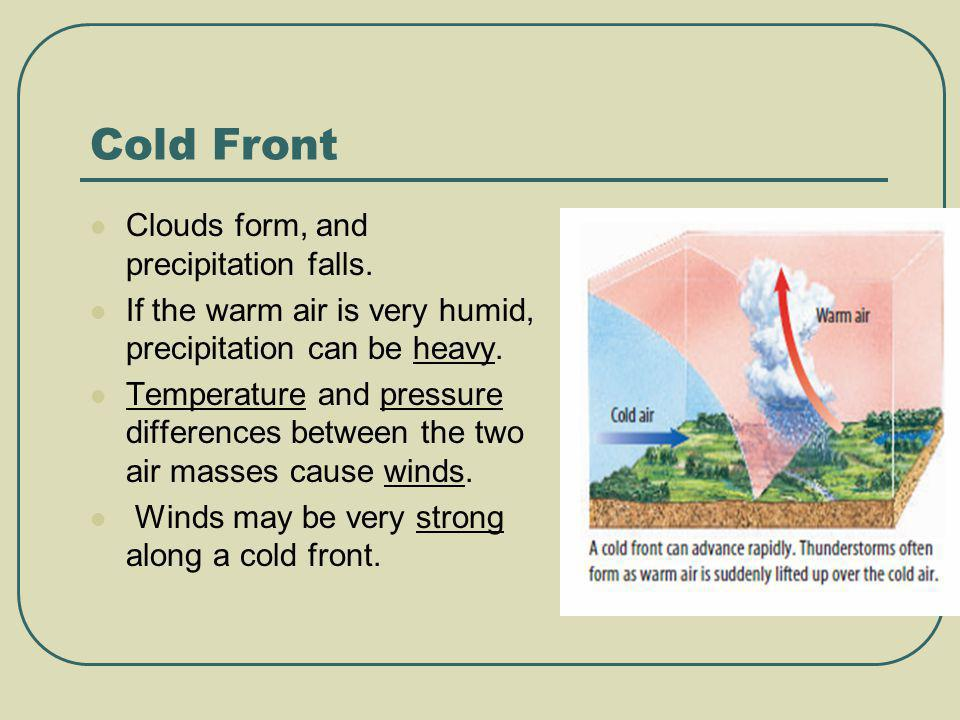 Cold Front Clouds form, and precipitation falls.