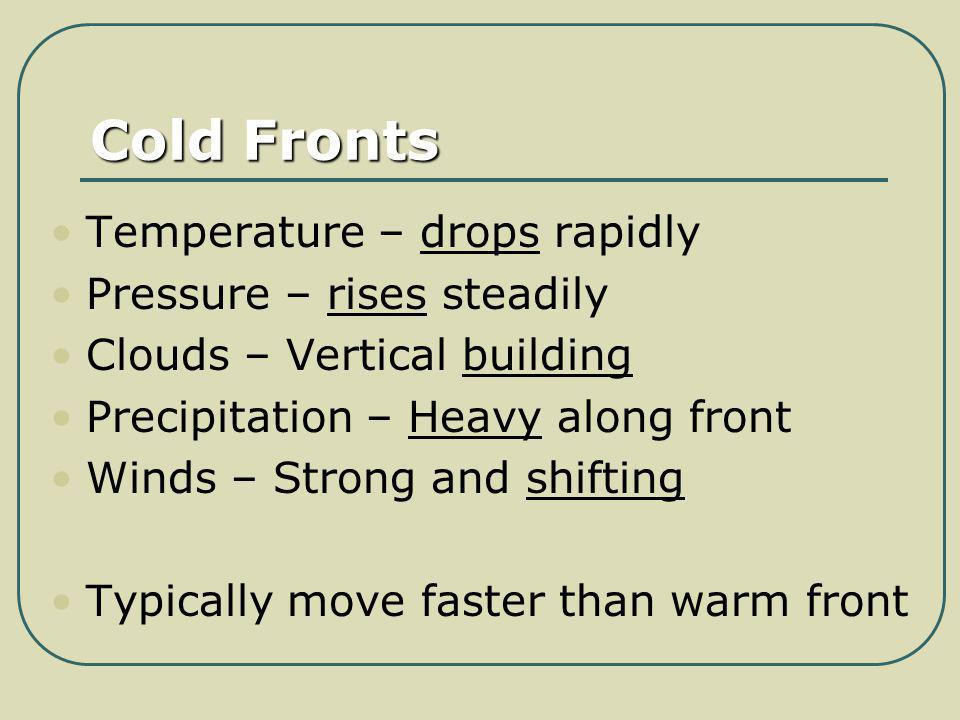 Cold Fronts Temperature – drops rapidly Pressure – rises steadily