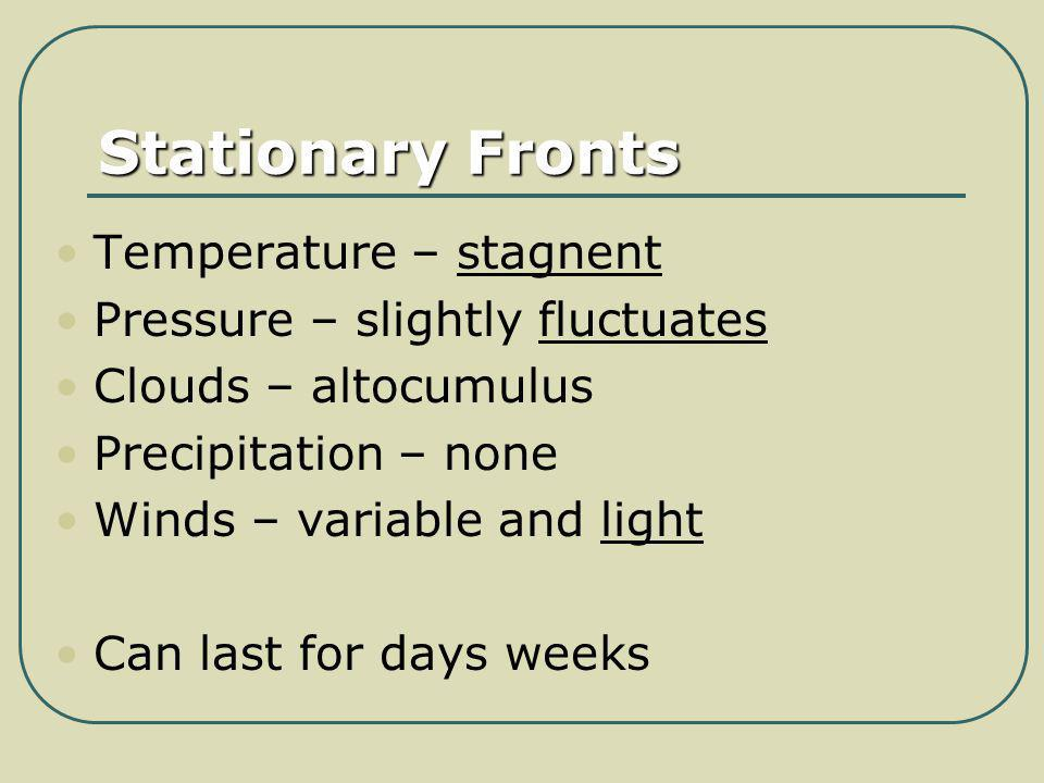 Stationary Fronts Temperature – stagnent